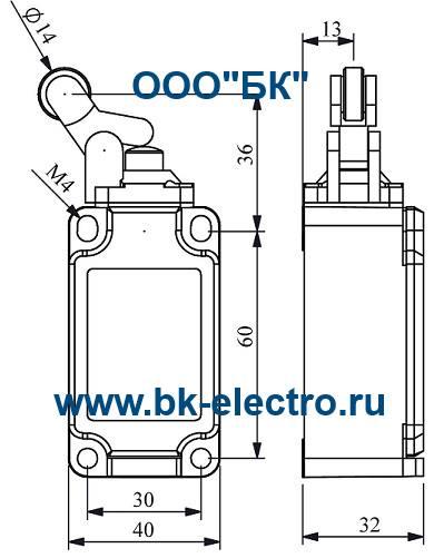Габаритные размеры выключателя L52K13MIP411