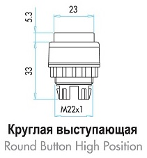 Габаритные размеры толкателя выступающей кнопки серии (В)
