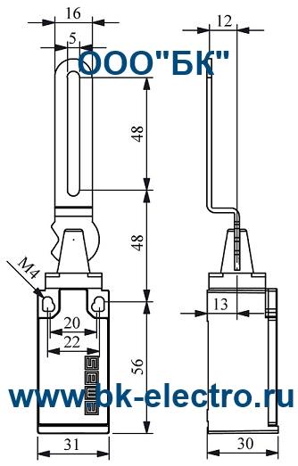 Габаритные размеры концевого выключателя