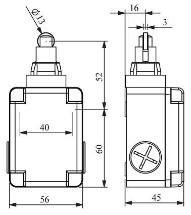 Габаритные размеры выключателя L1K13MUM33