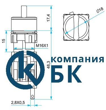 """Габаритные размеры переключателей EMAS серии """"D"""" 16мм."""