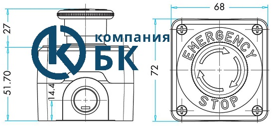 Габаритные размеры поста управления P1EC400E40-K .