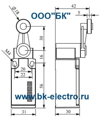Габаритные размеры концевого выключателя L5K13MEM121