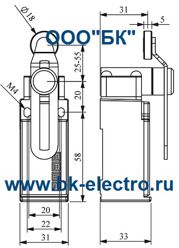 Габаритные размеры выключателя L51K23MEP124
