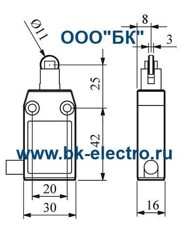 Габаритные размеры концевого выключателя L61K13MUM331