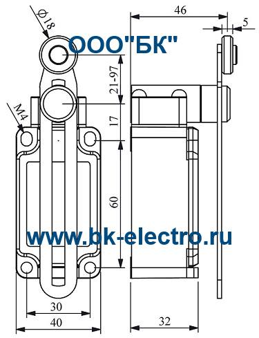Габаритные размеры выключателя L52K13MEP123
