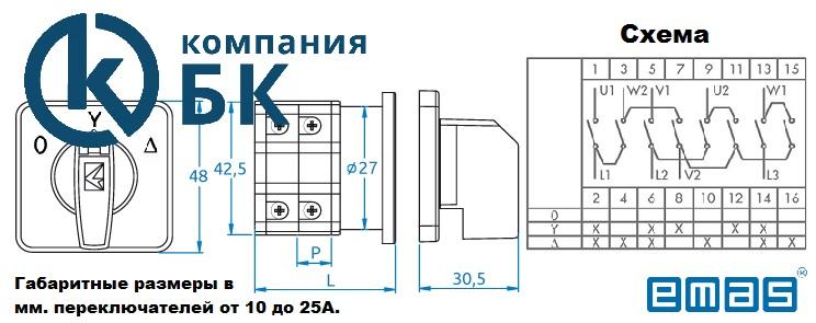 Габаритные размеры переключателей PSA 10-25A. Звезда/треугольник