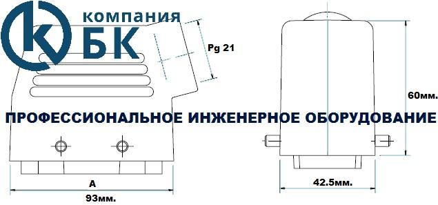Габаритные размеры промышленных разъемов (EBM16FU и PU10)